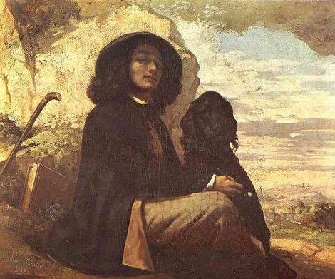 """Gustave Courbet, """"Autoportrait au chien noir"""", 1842-1844.  on ArtStack #gustave-courbet #art"""