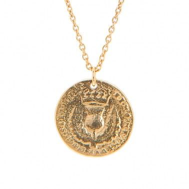 This is where we get all Scottish!  LARGE BAWBEE COIN NECKLACE - 18ct yellow gold vermeil £210.