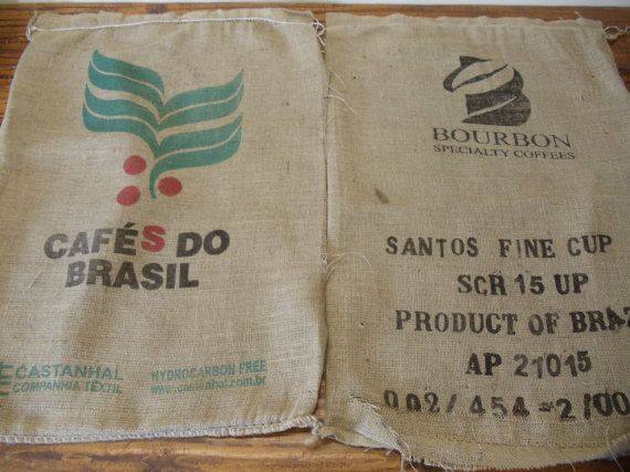 1 Used Brazil Cafes Do Brasil Coffee Bean Burlap by LoVermont802