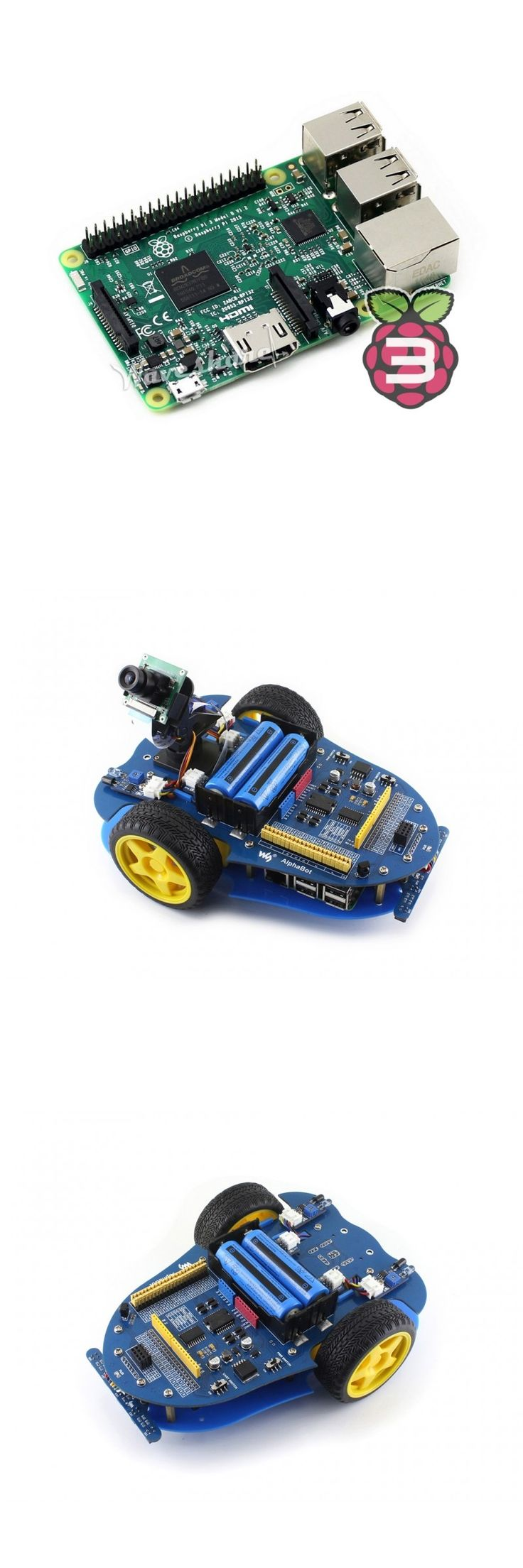 Waveshare AlphaBot-Pi Car Raspberry Pi Robot Building Kit RPi 3 B Mother Board Robotic Platform Camera Video for line tracking