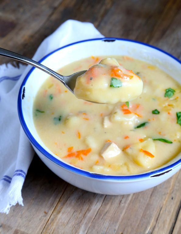 Get this tested recipe for easy gluten free chicken and dumplings—made with make-ahead biscuits and make-ahead cream of chicken soup!