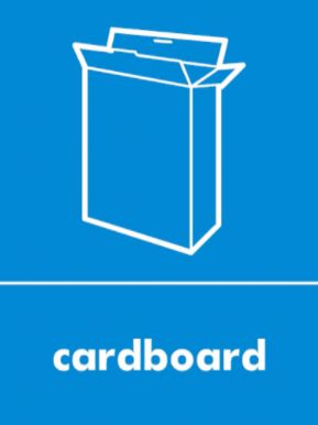 Cardboard waste recycling sign