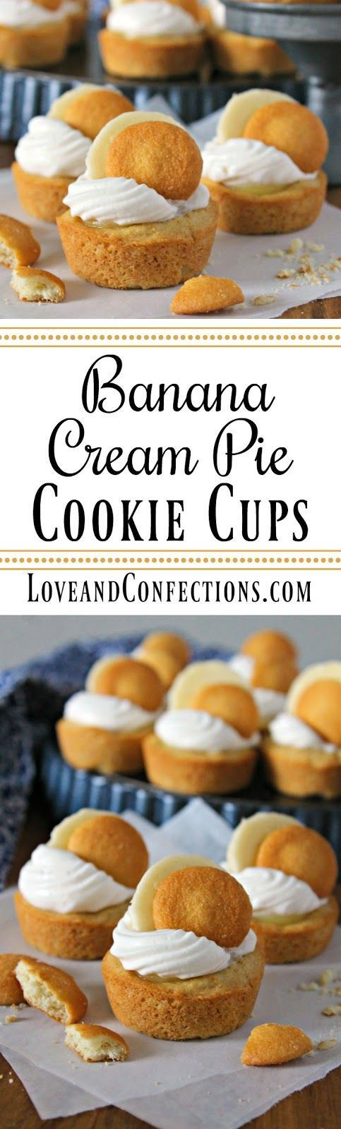 Banana Cream Pie Cookie Cups from LoveandConfections.com made with @dixiecrystals #ad