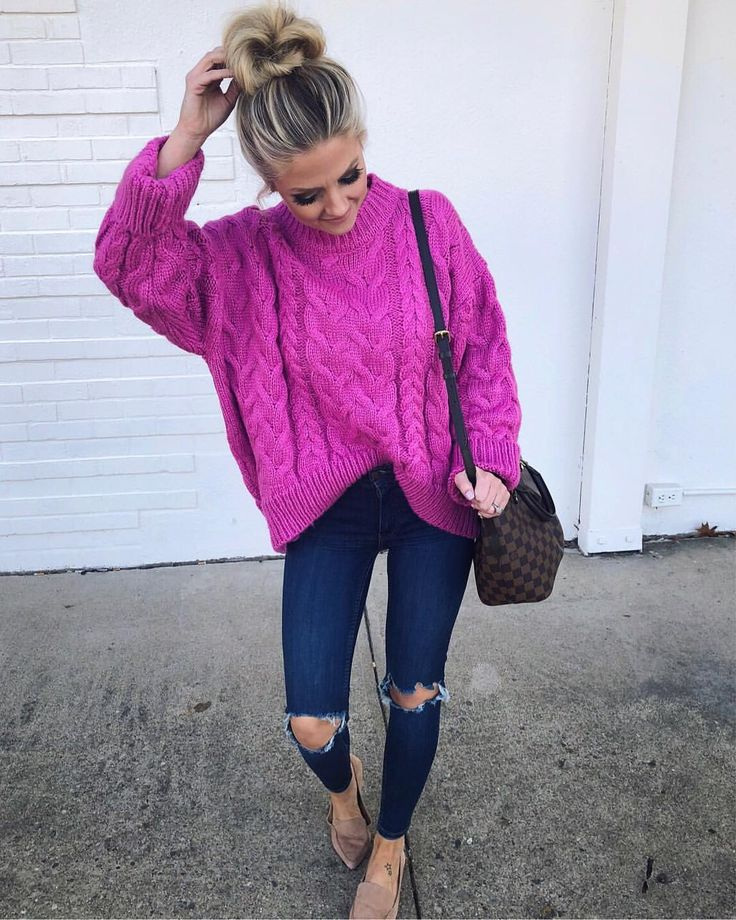 Love this sweater, but this shade of pink is probably too much for me.