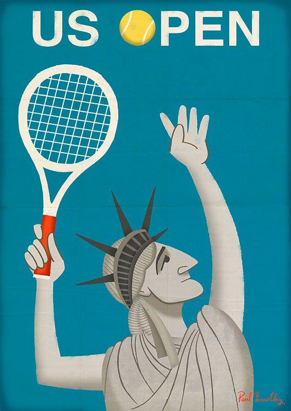 US Open Poster - © Paul Thurlby Illustration 2014 #usopen #tennisart