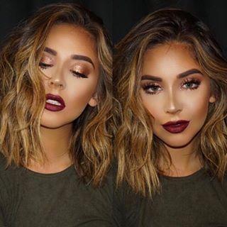 Glowy skin and wine lips