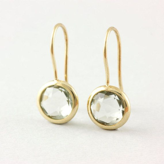Green Amethyst Gold Earrings, Real Stone Gold Earrings, Green Gemstone Earrings, 14K Solid Gold, February Birthstone, Anniversary Gift AE015