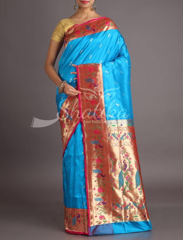 Naina Cobalt Blue Designer Border Pallu Real Zari Paithani Silk Saree