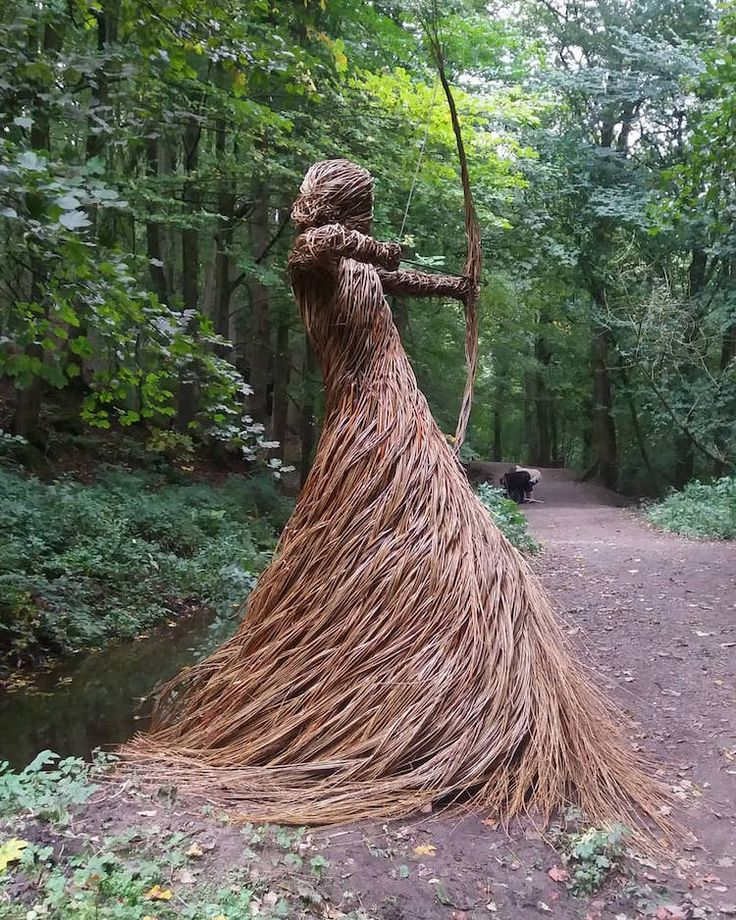 Sculptures from Willow Branches in the Forest