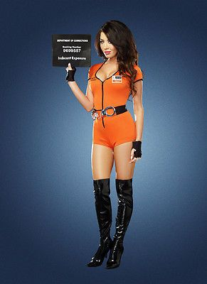 Locked Up! Sexy Bad Girl Prisoner Convict Inmate Outfit Halloween Costume NEW