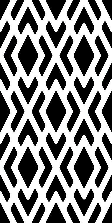 4) Geometric Patterns. These white diamonds in the foreground cut into the dark background with crisp, rounded edges. One might also look at this as the various black shapes cut into a white background.
