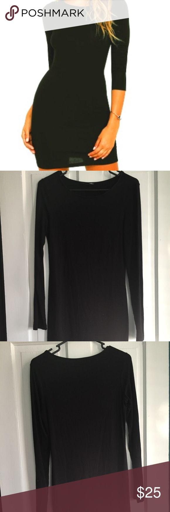 LuLu's Black Long Sleeve Dress Simple Long Sleeve Black Dress. First purchased from LuLu's. Perfect for women, ready for a date night out. It's a little long, so I would recommend buying if you have long legs. But if you want a more conservative dress - perfect for that too! Lulu's Dresses Long Sleeve
