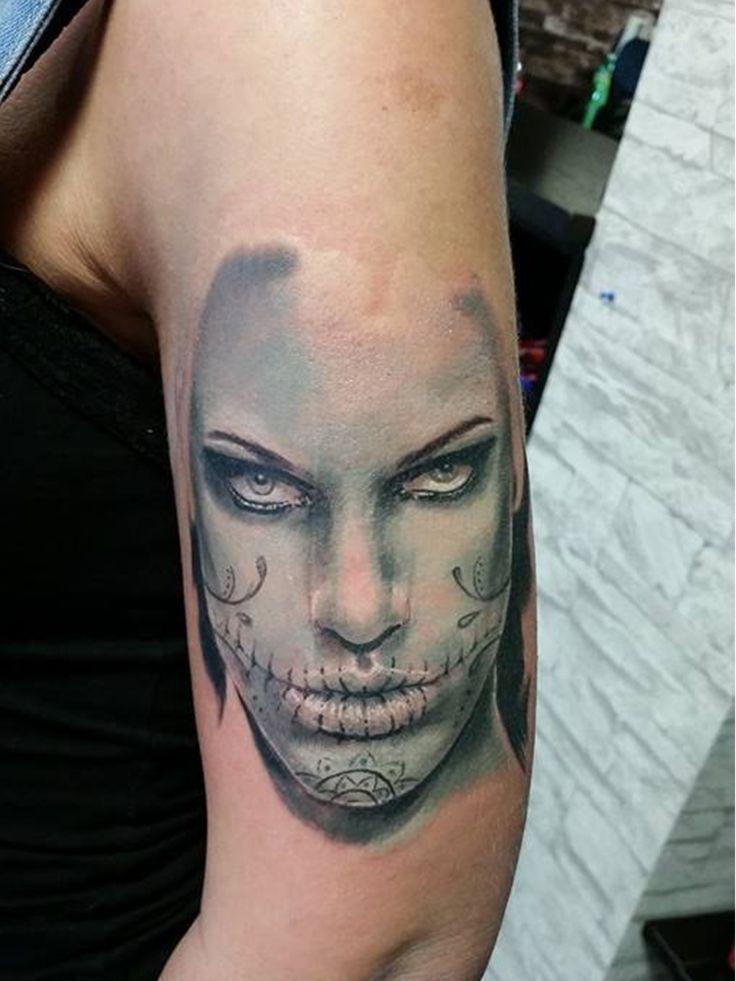 in progress- muerta #tattoos #tattoo #ink #realistic #realistictattoo