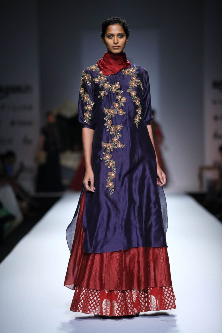 Indigo and maroon long and short embroidered kurta with maroon skirt available only at Pernia's Pop Up Shop.