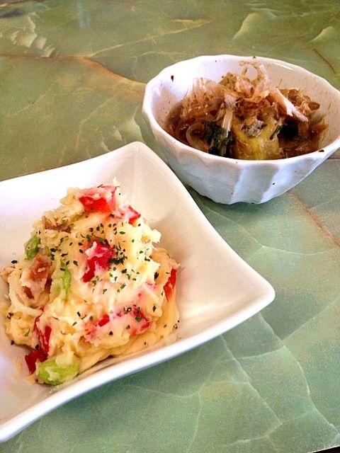 今日のポテトサラダはパプリカ、ウインナー、新玉ねぎ、枝豆入り。味付けはコーンスープの素とちょっと醤油。 - 12件のもぐもぐ - 焼き茄子と新玉ねぎの麺つゆ漬け ポテトサラダ by kikuri