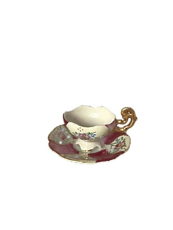 """♢"""" Cup Demitasse Teacup #Espresso Cup with Saucer HB China Rose #Red with R... Great http://etsy.me/29fcNcG"""