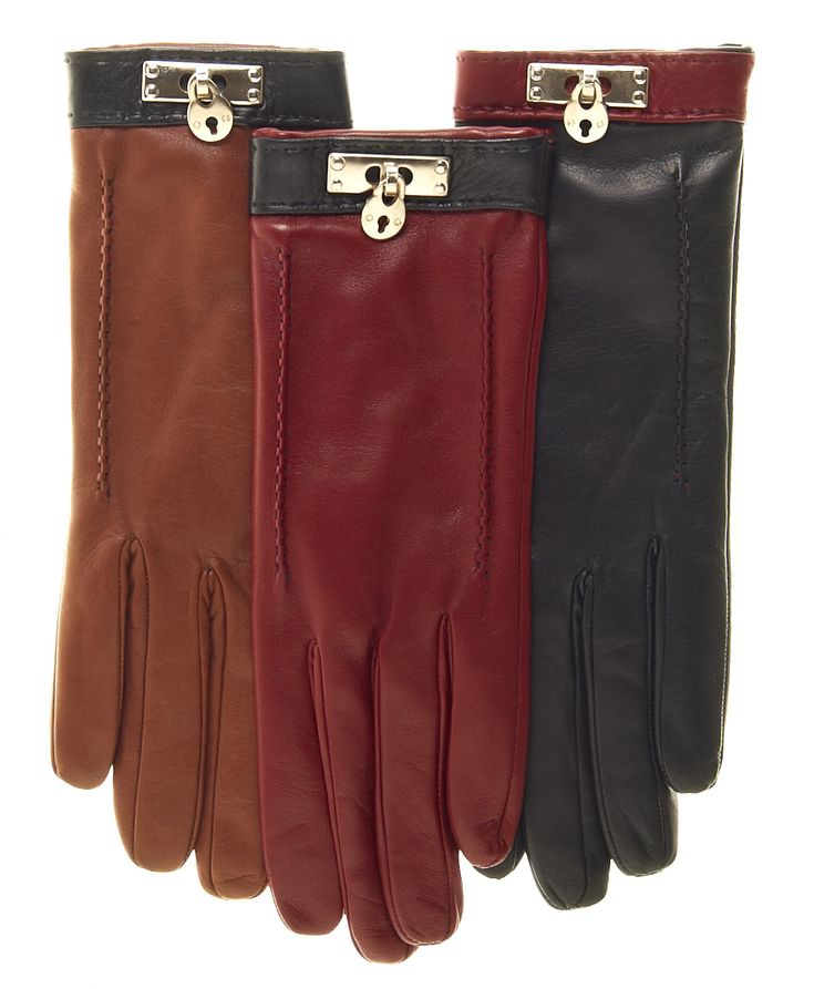 Women's Italian Cashmere Lined Leather Gloves with Brass Lock Charm