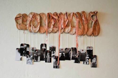 If my little girl was a ballerina, hang her shoes with a picture on the lace for her every year