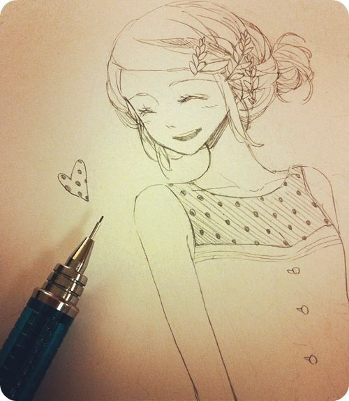 ANIME ART anime girl. . .messy bun. . .braid. . .smile ...