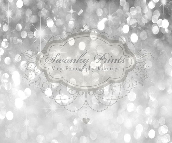 6ft x 5ft Silver Bokeh GLITTER HOLIDAY Vinyl Backdrop / Custom Photo Prop $60