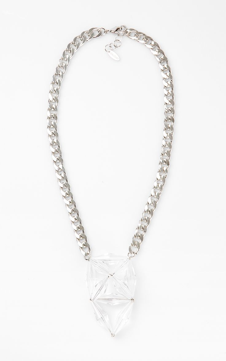 Yvelines Necklace by House of Jealouxy. Gorgeous necklace with a geometric details, perfect pair for your evening dress or casual style. Made from silver colored brass chain, with a transparent geometric pendant, lobster clasp fastening. http://www.zocko.com/z/JJ4IB
