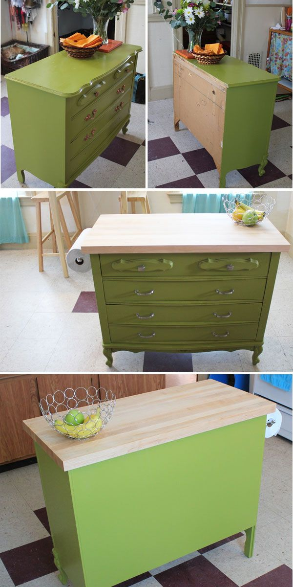 Dresser Kitchen Island - Tutorial  ~~ ~~~ ~~!~~ ~~~ ~~  OMG I LOVE IT!  And that might work in my no so large kitchen as well for a bit more counter space.
