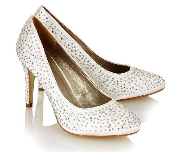 Ivory Satin Crystal Diamante Wedding Shoes