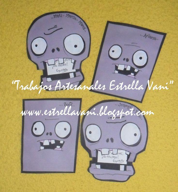 Dos modelos de invitaciones para el cumple de los chicos...         Un modelo más simple, pero con la carita del zombie...          Y otra ...