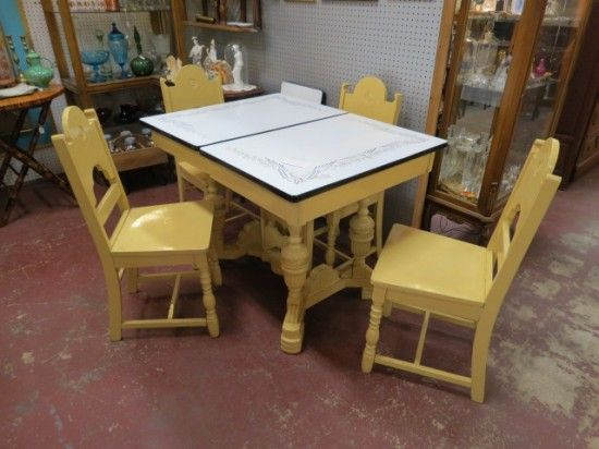 Vintage Antique 5 Pc Enamel Top Dining Table 4 Chairs