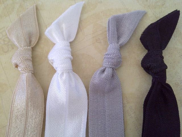 Essential 4 Pack: Black, White, Silver Ash & Gold Champagne Plain Hair Bands. $4 pack.