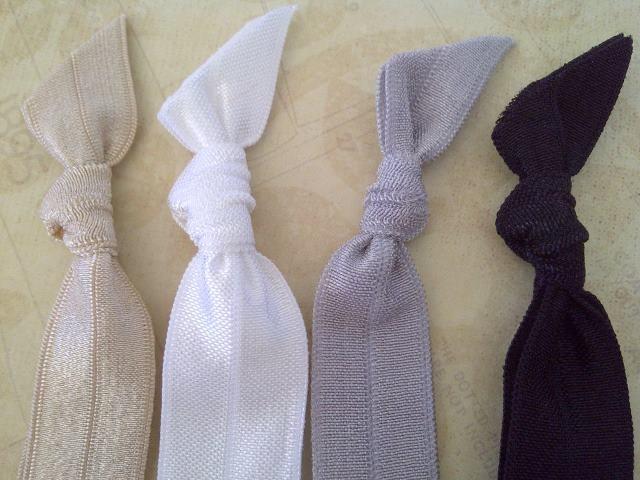 Essential 4 Pack: Black, White, Silver Ash & Gold Champagne Plain Hair Bands. $4 pack.