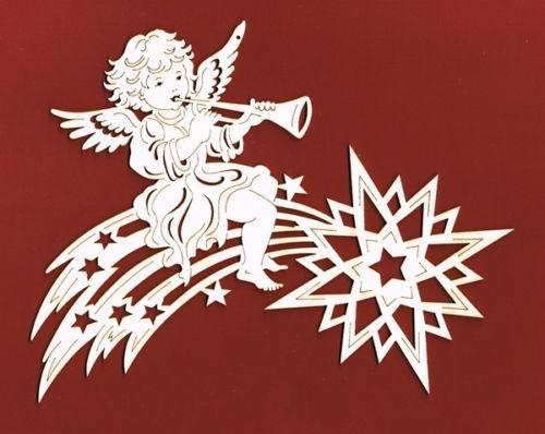 Fensterbild Komet mit Posaunenengel Holz Deko Weihnachten in Möbel & Wohnen, Feste & Besondere Anlässe, Jahreszeitliche Dekoration | eBay