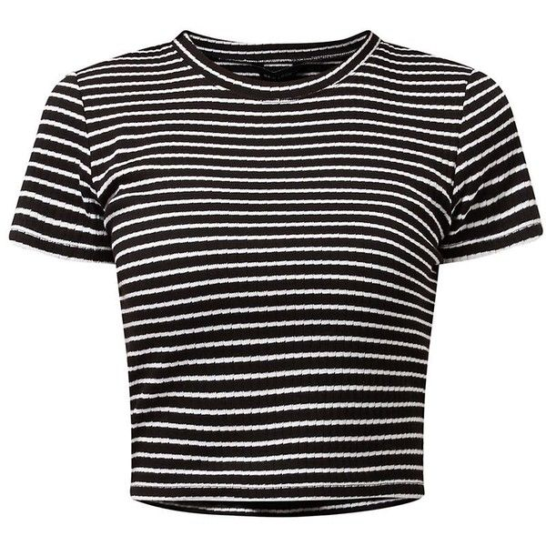 Monochrome Stripe Ribbed Crop Top ($6.07) ❤ liked on Polyvore featuring tops, t-shirts, shirts, crop tops, black short sleeve shirt, black striped shirt, ribbed t shirt, crop top and slim fit t shirts