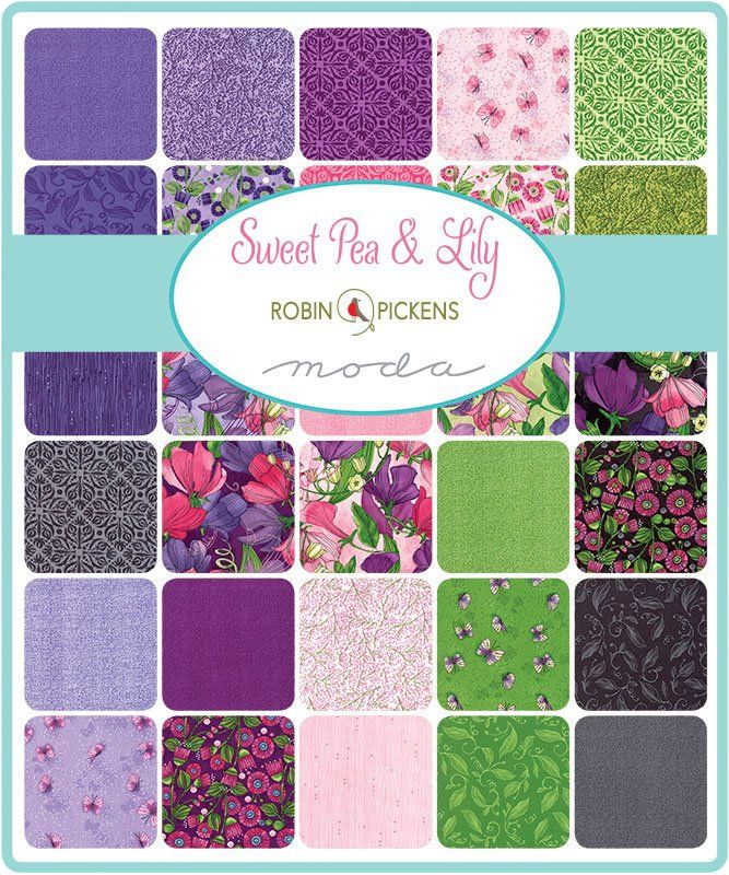 Sweet Pea And Lily Charm Pack Moda 48640pp 5 Inch Precut Fabric Squares Pink Purple Floral Charm Pack Robin Pickens By Sweet Pea Moda Fabrics Quilt Fabric