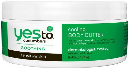 Yes To Body Butter, Cucumber, 8.45 Fluid Ounce by Yes To. $10.99. Aloe vera is rich in minerals, vitamins, proteins and more. Aloe vera is a soothing botanical which has anti-bacterial properties and provides protection for skin. Spirulina is a renowned ?superfood? rich in vitamins, proteins and nutrients to purify and regenerate your skin. Spirulina also protects against irritants. Organic cucumbers are packed with rejuvenating vitamins which soothe and soften the ...