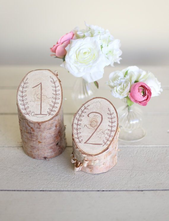 Rustic Birch Table Numbers Laurel Wreath Barn Country Wedding Decor