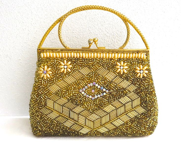 Vintage gold beaded bag with pearls, bugle and seed beads, aurora borealis rhinestones, intricate pattern, double gold metal handle, 1960s by CardCurios on Etsy