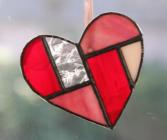 Valentine S Day Handmade Stained Glass Geometric Valentine