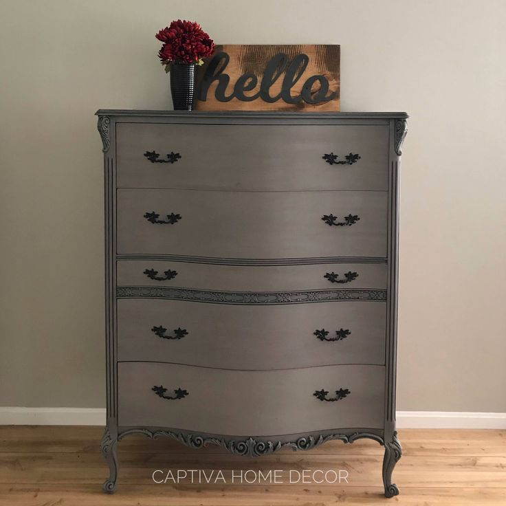 SOLD- 1930's French Provincial Grey Chest of Drawers, original handles, black accents, drybrushed details, lightly distressed