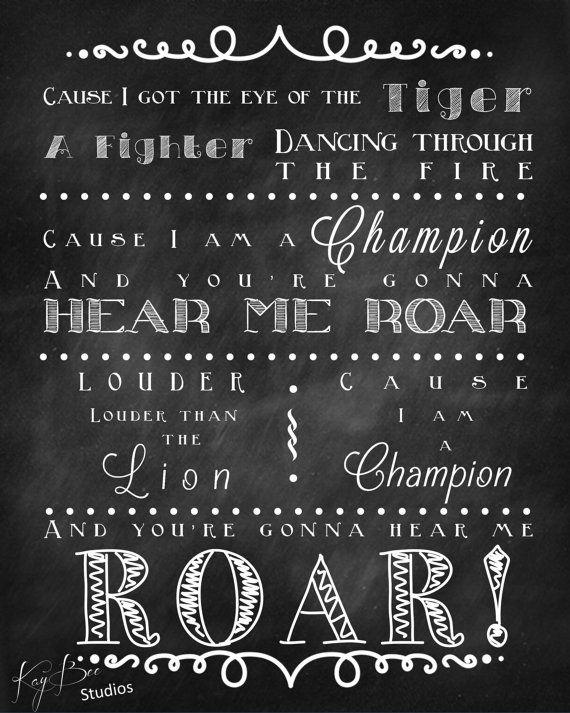 Katy Perry Roar Song Lyrics Print Chalk by KayBeeStudios on Etsy