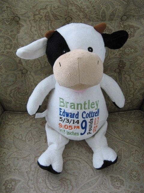 Cow Birth Announcement Farm Theme Baby Gift by BabyDudsBoutique, $30.00