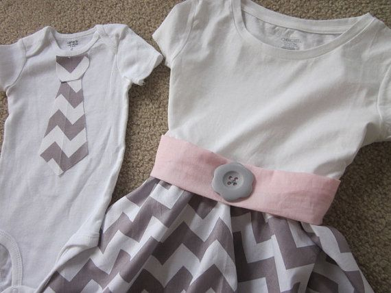Big sister and little brother Dress with a Twirl gray cheveron skirt with matching tie or tie onesie