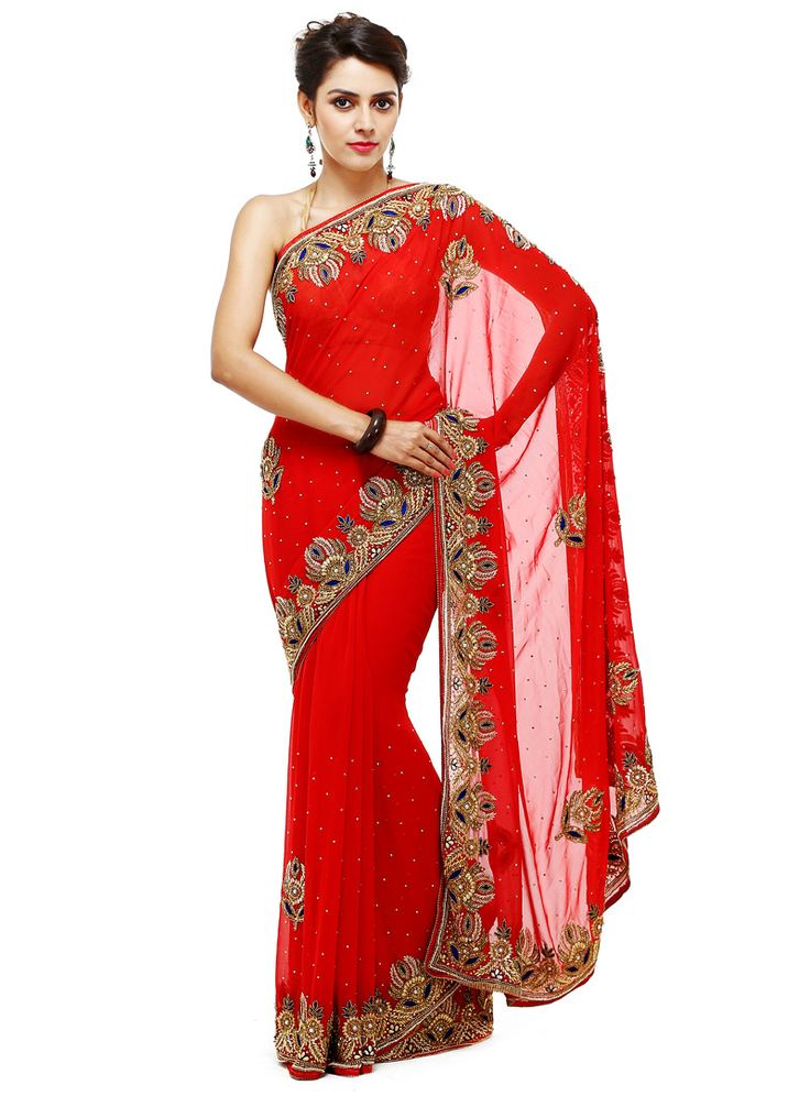 Red Georgette Saree With Blouse 88900