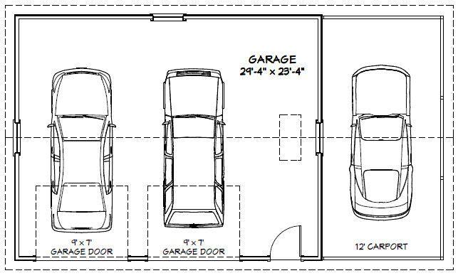 30x24 2-Car Garage - # 30X24G1M - 720 sq ft - Uitstekende Plannen van de vloer