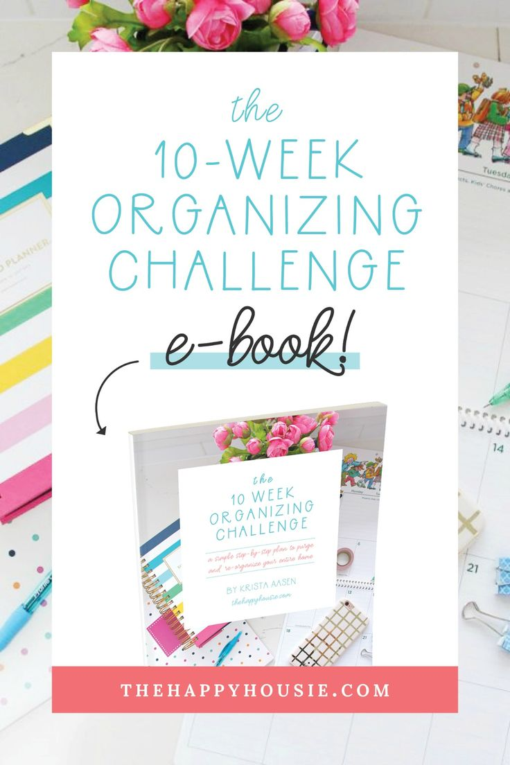 A comprehensive, detailed and well-organized ten week program that will allow you to completely purge and reorganize your home.  Weekly checklists that are easy to print and follow, and tips for developing habits that will allow home organization to become a breeze.  #thehappyhousie #organizingthehome #homedecor #homeorganization