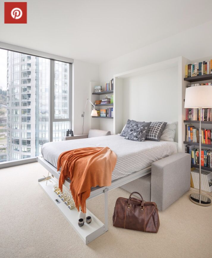 Contemporary Bedroom with Murphy Bed Couch Combo Design and Grey Wooden  Paint Bookcase Floating Rack Shelf