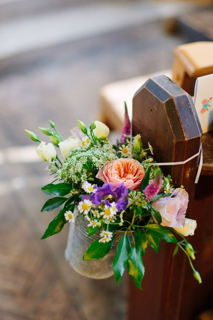 Image by Camilla Arnhold Photography - Dorset rustic barn wedding with a pink peach and mint colour scheme, a vintage ice cream bicycle and Italian influences