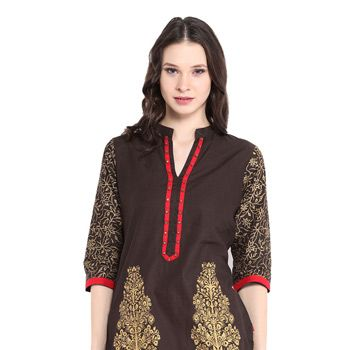 Brown Cotton Readymade Kurti