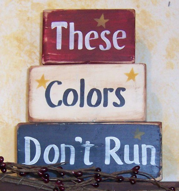 These Colors Don't Run blocks, Americana, home decor, patriotic on Etsy, $9.00