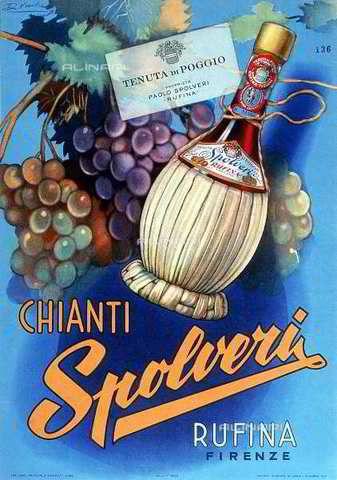 """Manifesto storico del Chianti """"Spolveri"""" di Rufina. Museo della Vite e del Vino, Villa di Poggioreale, Rufina."""